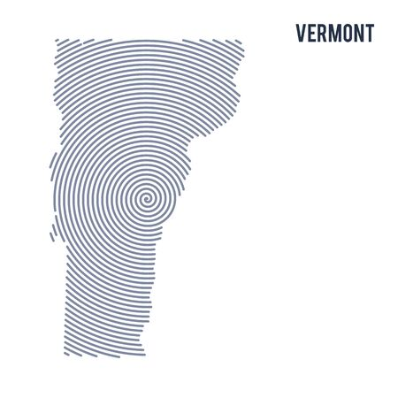 Vector abstract hatched map of State of Vermont with spiral lines isolated on a white background. Travel vector illustration. Illustration