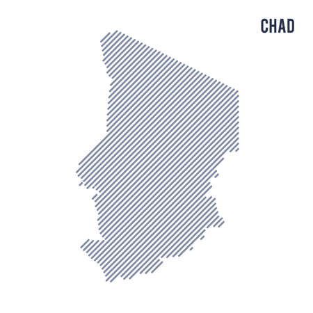 Vector abstract hatched map of Chad with oblique lines isolated on a white background. Travel vector illustration.