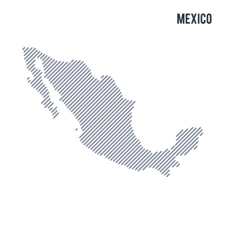 Vector abstract hatched map of Mexico with oblique lines isolated on a white background. Travel vector illustration.