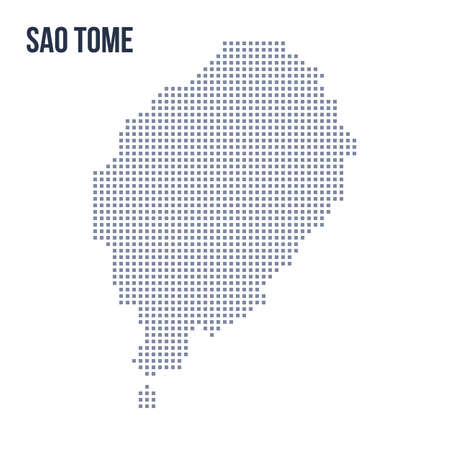 Vector pixel map of Sao Tome isolated on white background . Travel vector illustration