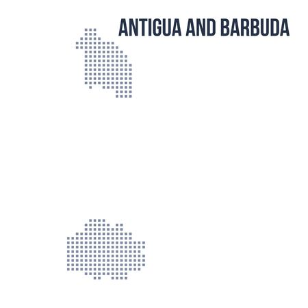 antigua: Vector pixel map of Antigua and Barbuda isolated on white background . Travel vector illustration