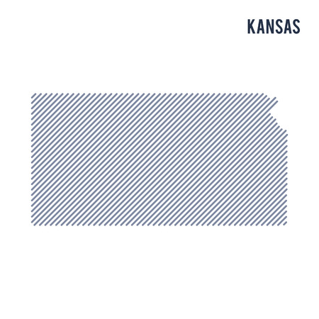 Vector abstract hatched map of State of Kansas with oblique lines isolated on a white background. Travel vector illustration.