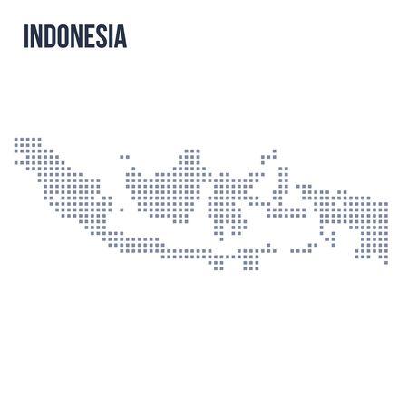 흰색 배경에 고립 된 인도네시아의 벡터 픽셀지도입니다. 여행 벡터 일러스트 레이션 일러스트