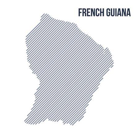 vecteur abstrait carte hachurée de guyane française avec des lignes obliques isolé sur un fond blanc. vecteur de voyage illustration