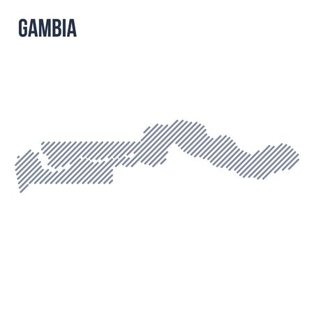 Vector abstract hatched map of Gambia with oblique lines isolated on a white background. Travel vector illustration. Illustration