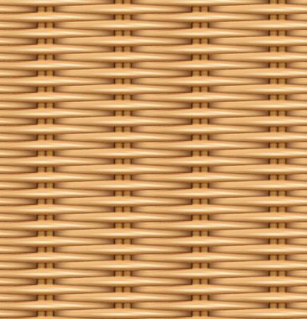 Realistische Beschaffenheit des nahtlosen Musters des gesponnenen Rattans. Die Beschaffenheit des hölzernen Korbes. Vektor-illustration Vektorgrafik