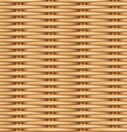 Seamless pattern realistic texture of woven rattan. The texture of the wooden basket. Vector illustration.