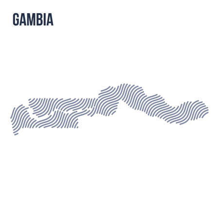 Vector abstract wave map of Gambia isolated on a white background. Travel vector illustration. Illustration