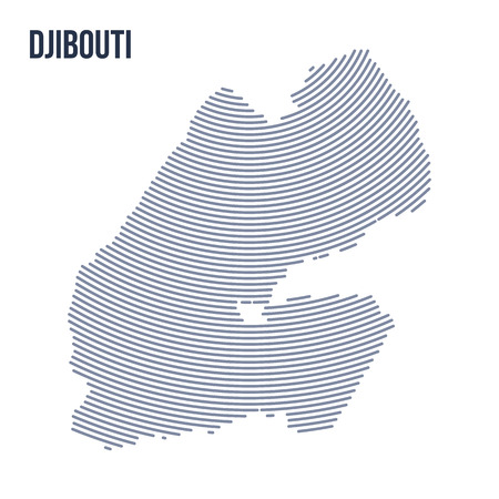 Vector abstract hatched map of Djibouti with curve lines isolated on a white background. Travel vector illustration.