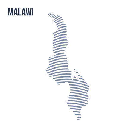 Vector abstract hatched map of Malawi with curve lines isolated on a white background. Travel vector illustration. Illustration