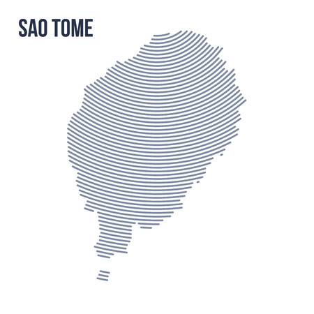 Vector abstract hatched map of Sao Tome with curve lines isolated on a white background. Travel vector illustration.