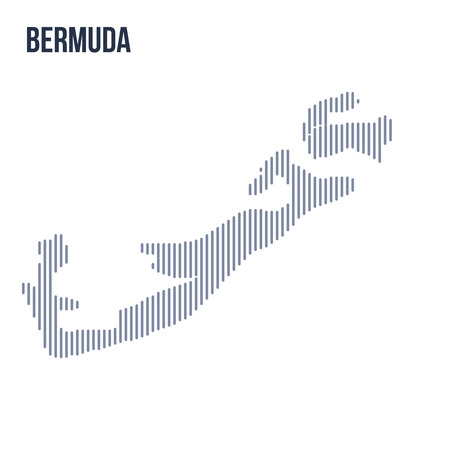 Vector abstract hatched map of Bermuda with vertical lines isolated on a white background. Travel vector illustration.