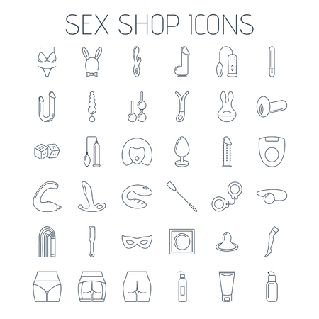 Sex shop line icons isolated on white background. Linear minimalistic icons for your website, flyers and advertising. Vettoriali