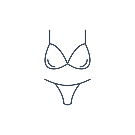 The linear vector icon womens underwear isolated on white background.