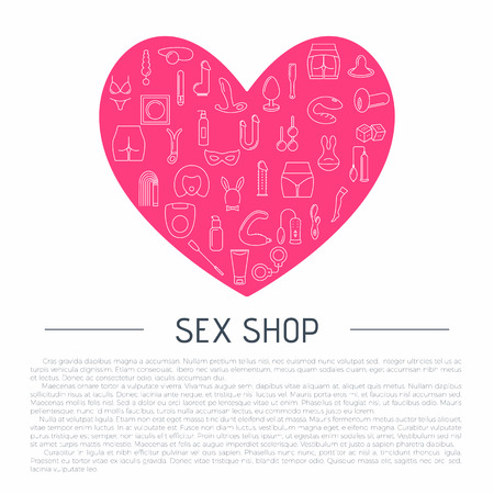 Line style heart frame with sex toys and place for text . Vector illustration.