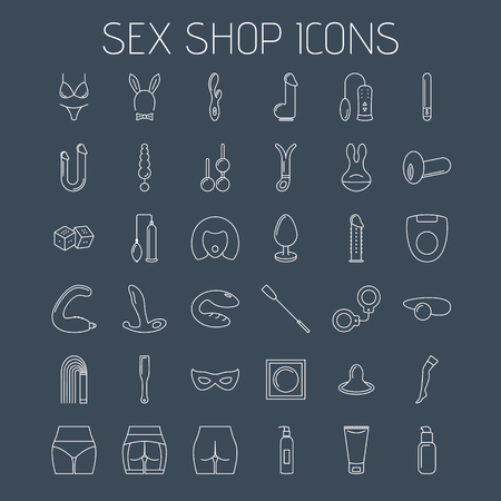 Sex shop line icons isolated on dark background. Linear minimalistic icons for your website, flyers and advertising.  イラスト・ベクター素材