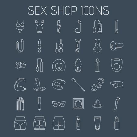 Icônes de ligne de sex shop isolés sur fond sombre. Icônes minimalistes linéaires pour votre site Web, vos circulaires et vos publicités.