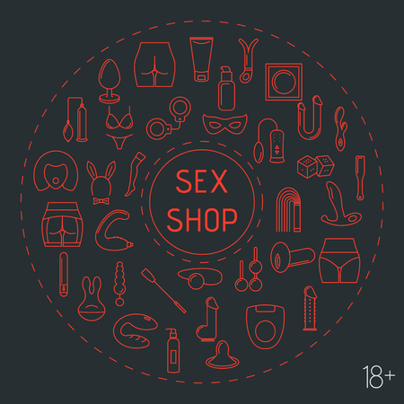 Line style circle frame with sex toys . Vector illustration.