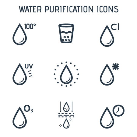 Water drops linear icons.