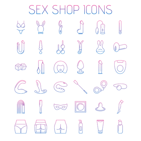 Adult shop line icons isolated on white background. Linear minimalistic icons for your website, flyers and advertising.