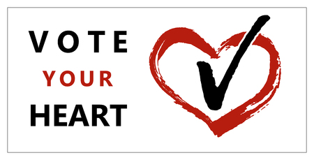 Brochure vote your heart on white background