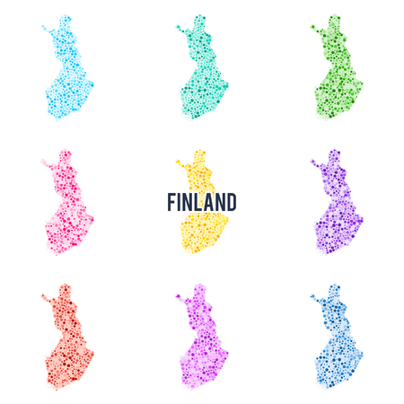 Vector dotted colorful map of Finland.