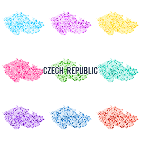 Vector dotted colourful map of Czech Republic.