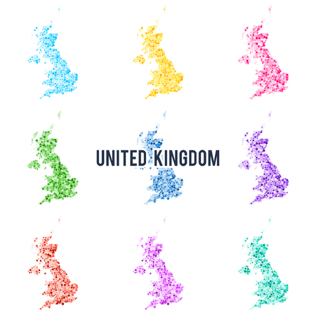 Vector dotted colourful map of United Kingdom.