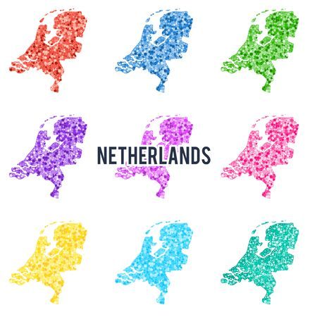 Vector dotted colourful map of Netherlands. Illustration