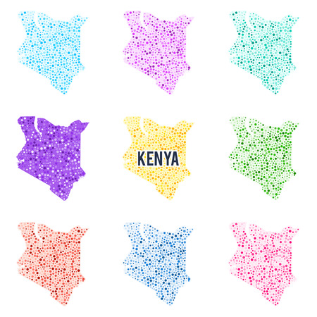 A Vector dotted colorful map of Kenya.
