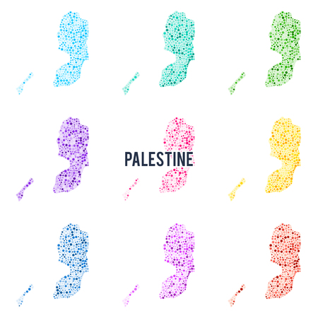 Vector dotted colourful map of Palestine. Illustration