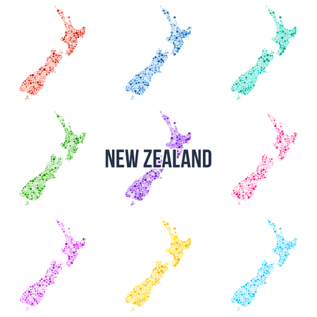 Vector dotted colourful map of New Zealand.