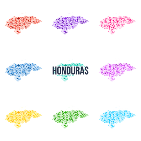 Vector dotted colourful map of Honduras. Illustration
