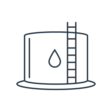 Linear icon of water tank isolated on the white background