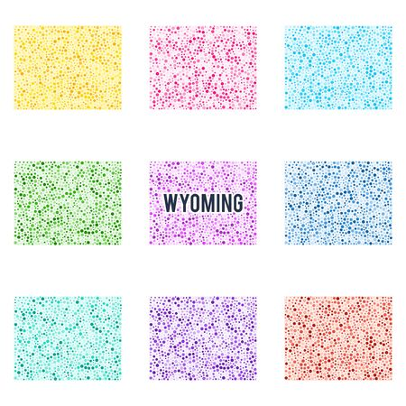 Vector colourful dotted map of the state of Wyoming. Set of different color solutions
