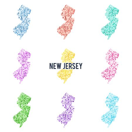 Vector colourful dotted map of the state of New Jersey. Set of different color solutions