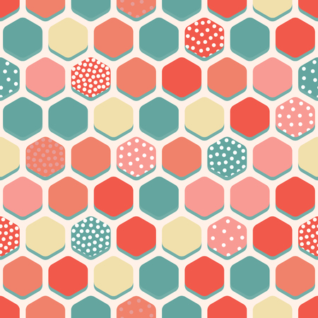 Vector seamless pattern with multicolored hexagons.