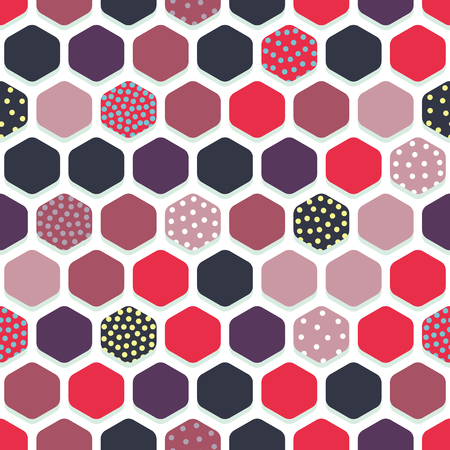Vector seamless pattern with multicolored hexagons. Can be used for textiles, wallpaper and wrapping paper.