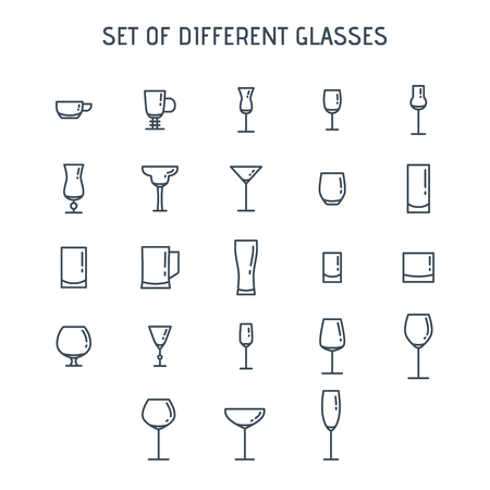 Linear icons of cocktail glasses and alcoholic beverages isolated on white background. Vettoriali
