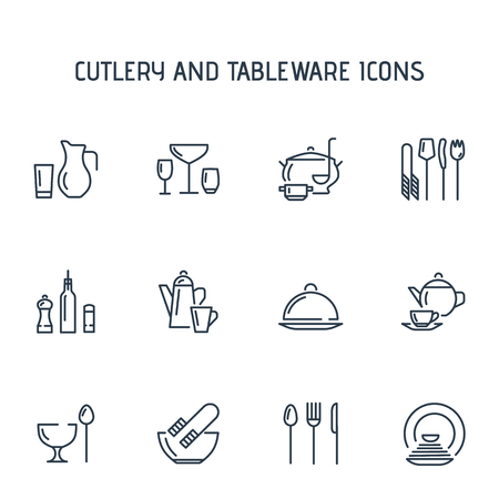 Cutlery and tableware icons. Ideal for store, restaurant or diner.