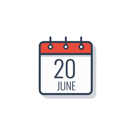 Calendar day icon isolated on white background June 20.