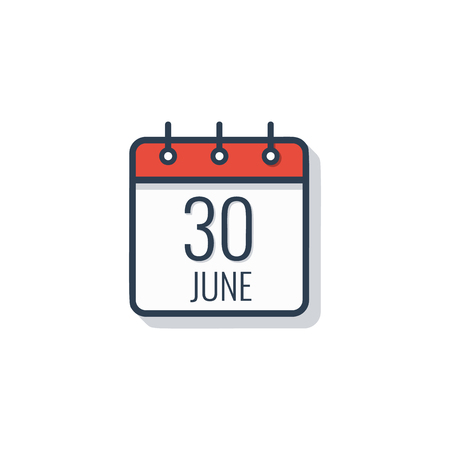 Calendar day icon isolated on white background. June 30. Illustration