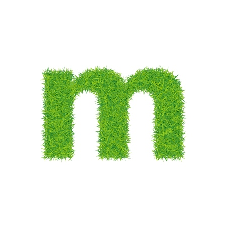 Green grass letter m on white background. Can be used as a logo or as part of a text.