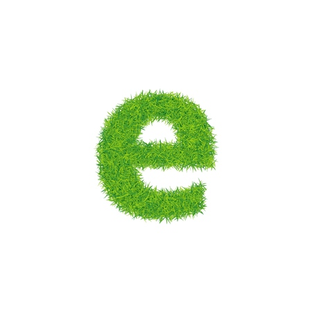 Green grass letter e on white background.