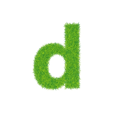 Green grass letter d on white background.