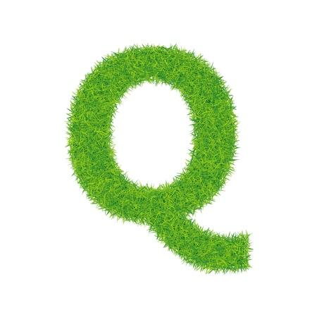 Green grass letter q on white background Illustration