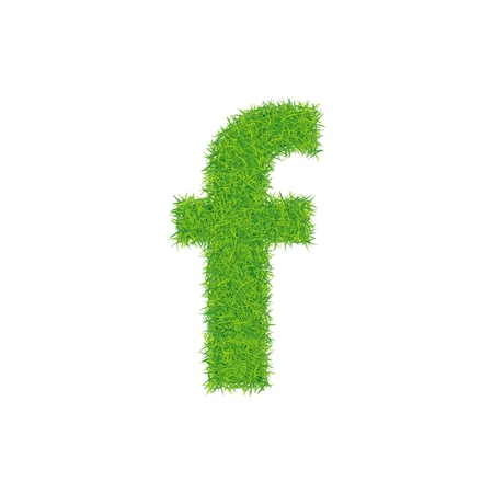 Green grass letter f on white background. Can be used as a logo or as part of a text.