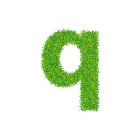 Green grass letter q on white background. Can be used as a logo or as part of a text. Illustration