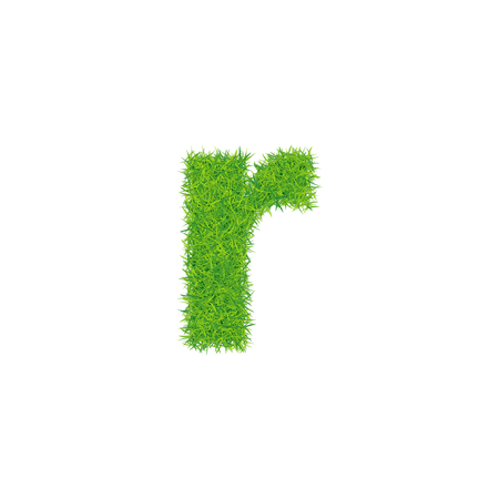 Green grass letter r on white background. Can be used as a logo or as part of a text.