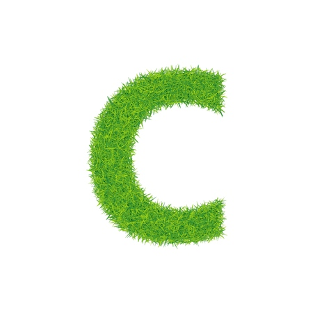 Green grass letter c on white background.